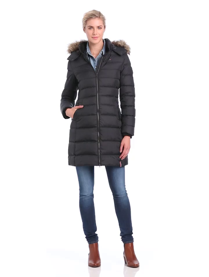 hilfiger denim damen daunenmantel maria down coat gr 36. Black Bedroom Furniture Sets. Home Design Ideas