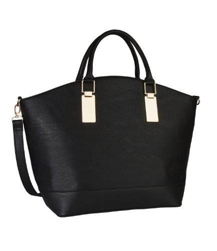 six schwarzer shopper tasche mit goldenen metallbeschl gen 355 395 besten mode. Black Bedroom Furniture Sets. Home Design Ideas
